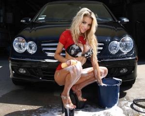 Mercedes Benz C Class and hot blonde woman foam wash